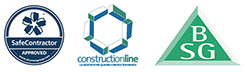 Safe Contractor, Constructionline and BSG logos
